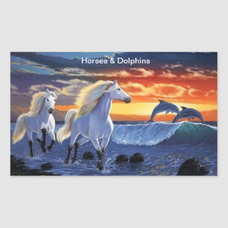 Horses & Dolphins Rectangular Sticker