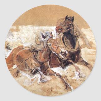 Horses draft to painting Wolves attack Classic Round Sticker