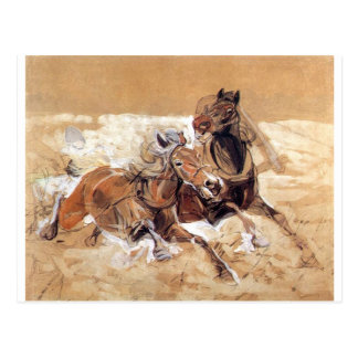 Horses draft to painting Wolves attack Postcard
