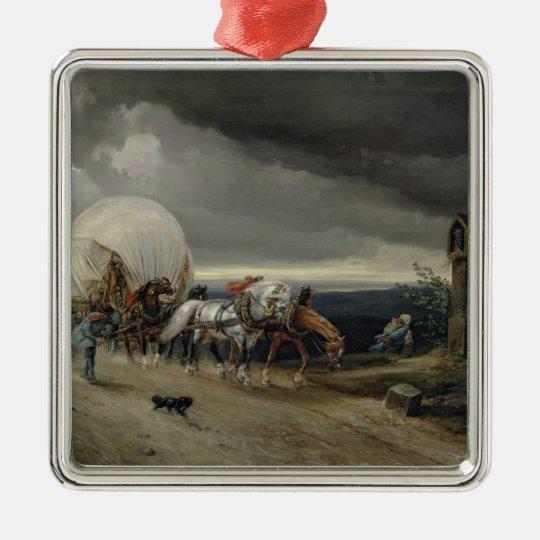 Horses Drawing Carts up a Hill, 1856 Metal Ornament