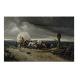 Horses Drawing Carts up a Hill, 1856 Poster