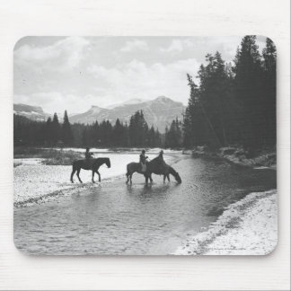 Horses drinking from and crossing a river mouse pad