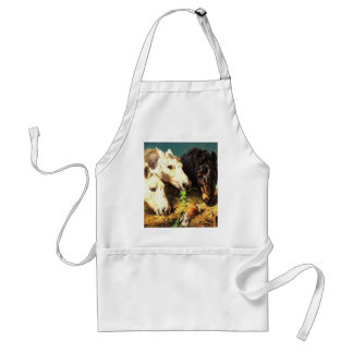Horses eating hay adult apron