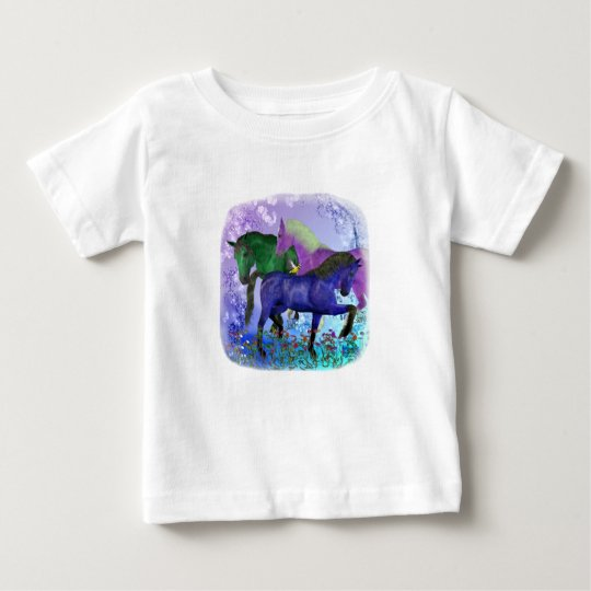 Horses, fantasy colored on purple background baby T-Shirt