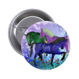 Horses, fantasy colored on purple background pinback button