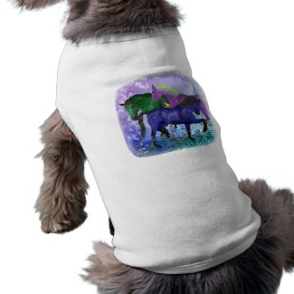 Horses, fantasy colored on purple background petshirt