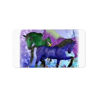 Horses, fantasy colored on purple background label