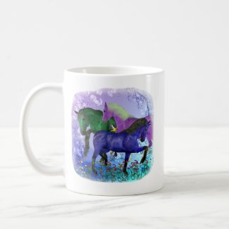 Horses, fantasy colored on purple background mug