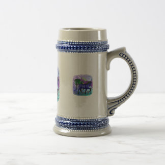 Horses, fantasy colored on purple background 18 oz beer stein