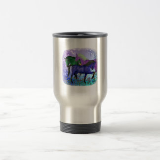 Horses, fantasy colored on purple background 15 oz stainless steel travel mug