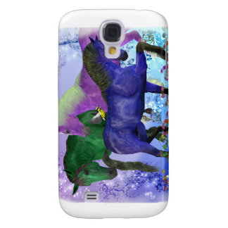 Horses, fantasy colored on purple background samsung galaxy s4 case