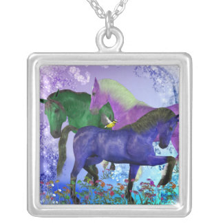 Horses, fantasy colored on purple background silver plated necklace