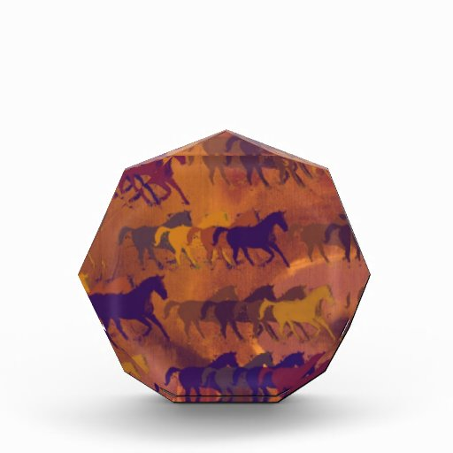 horses farm pattern acrylic award