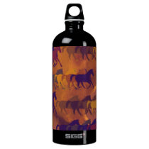 horses farm pattern aluminum water bottle
