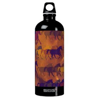 horses farm pattern aluminum water bottle