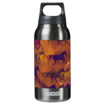 horses farm pattern insulated water bottle