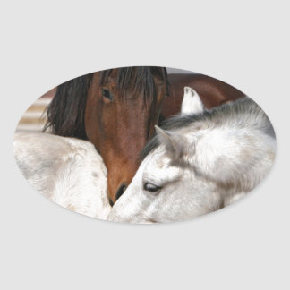 horses farm ranch equine western sports love oval sticker