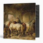 Horses Feeding in the Stable 3 Ring Binder