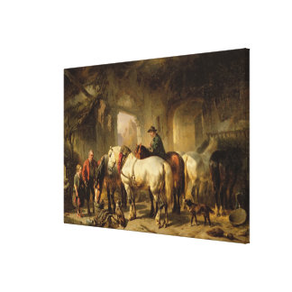 Horses Feeding in the Stable Canvas Print