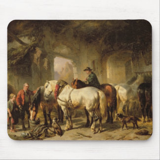 Horses Feeding in the Stable Mouse Pad