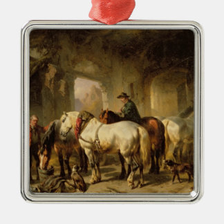 Horses Feeding in the Stable Square Metal Christmas Ornament