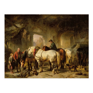 Horses Feeding in the Stable Postcard