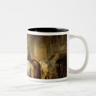 Horses Feeding in the Stable Two-Tone Coffee Mug