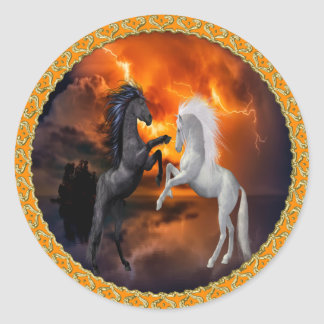 Horses fighting in a bad lightning storm classic round sticker