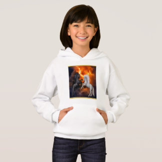 Horses fighting in a bad lightning storm hoodie