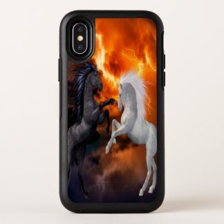 Horses fighting in a bad lightning storm OtterBox symmetry iPhone x case