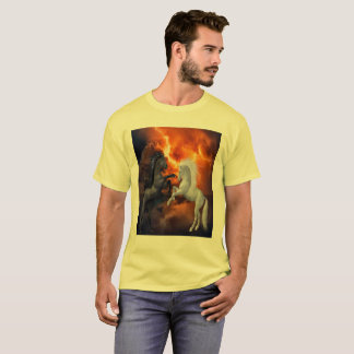 Horses fighting in a bad lightning storm T-Shirt