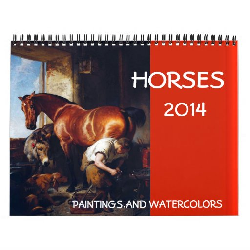 HORSES FINE ART COLLECTION 2014 Paintings Drawings Wall Calendar