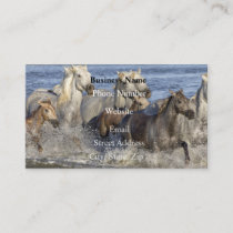Horses galloping in the water business card
