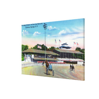 Horses Getting a Morning Workout on the Track Canvas Print