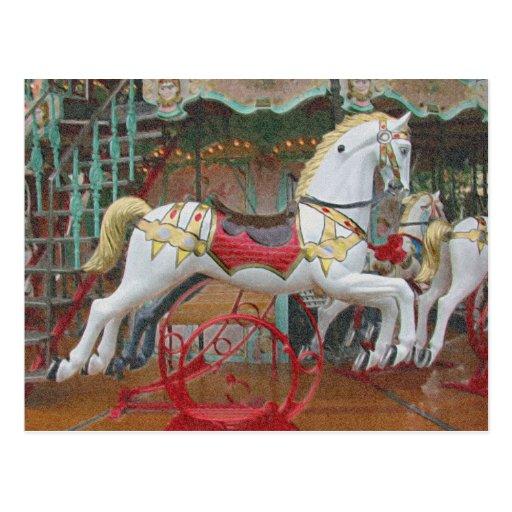 Horses Go Round Postcard
