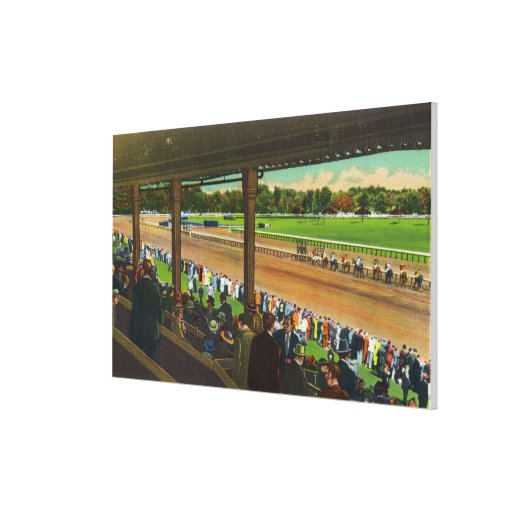 Horses Going to the Post at Race Track Stretched Canvas Print