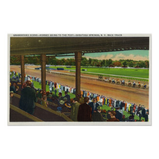 Horses Going to the Post at Race Track Poster