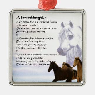 Horses Grandaughter poem Square Metal Christmas Ornament
