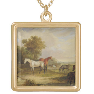 Horses Grazing: A Grey Stallion grazing with Mares Gold Plated Necklace