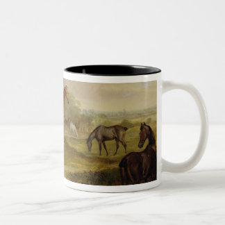 Horses Grazing: A Grey Stallion grazing with Mares Two-Tone Coffee Mug