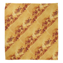 HORSES GRAZING ,Antique Brown Orange Yellow Bandana