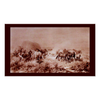 HORSES GRAZING Antique Brown ,Sepia Poster