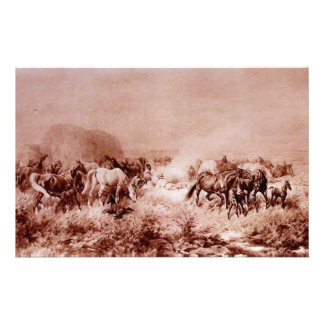 HORSES GRAZING Antique Brown Sepia Stationery