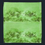 "HORSES GRAZING ,Antique Light Green Bandana<br><div class=""desc"">Elegant and classic vintage fine art elaboration from 18th century Polish painting.</div>"