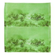 HORSES GRAZING ,Antique Light Green Bandana