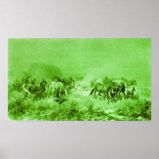 HORSES GRAZING Antique Light Green Poster