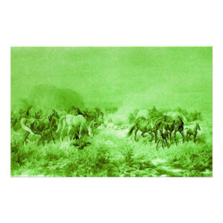 HORSES GRAZING Antique Light Green Stationery