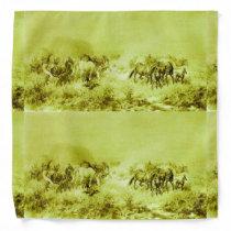 HORSES GRAZING ,Antique Olive Green Bandana