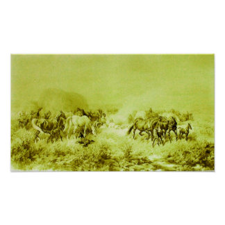 HORSES GRAZING Antique Olive Green Poster