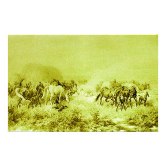HORSES GRAZING Antique Olive Green Stationery
